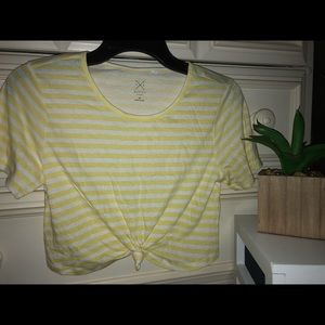 Pacsun white and yellow striped tie-front shirt